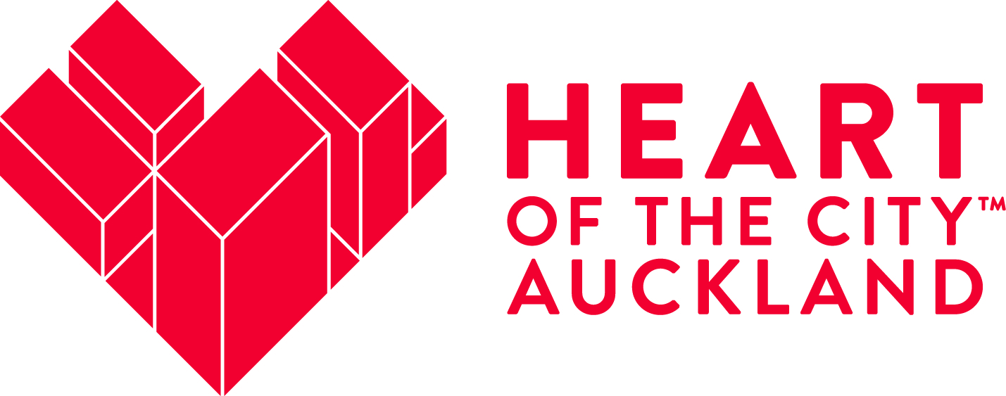 Red on white background Heart of the City Auckland logo
