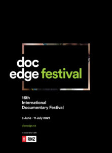 Black background with white and green doc edge festival logo, 16th international documentary festival 3 June - 11 July 2021, docedge.nz
